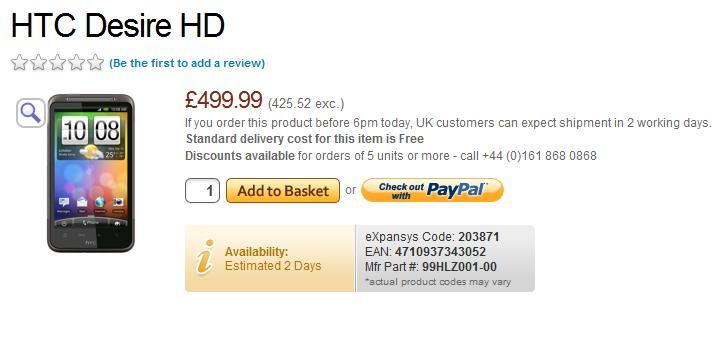 Nu begynder leveringen af HTC Desire HD i UK.